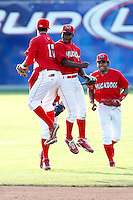 July 19, 2009:  Center Fielder D'Marcus Ingram and Niko Vasquez of the Batavia Muckdogs celebrate after a game at Dwyer Stadium in Batavia, NY.  The Muckdogs are the NY-Penn League Short-Season Class-A affiliate of the St. Louis Cardinals.  Photo By Mike Janes/Four Seam Images