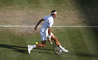 Roger Federer (SUI) during his match against Rafael Nadal (ESP) in their Gentleman's Singles Semi-Final match<br /> <br /> Photographer Rob Newell/CameraSport<br /> <br /> Wimbledon Lawn Tennis Championships - Day 11 - Friday 12th July 2019 -  All England Lawn Tennis and Croquet Club - Wimbledon - London - England<br /> <br /> World Copyright © 2019 CameraSport. All rights reserved. 43 Linden Ave. Countesthorpe. Leicester. England. LE8 5PG - Tel: +44 (0) 116 277 4147 - admin@camerasport.com - www.camerasport.com