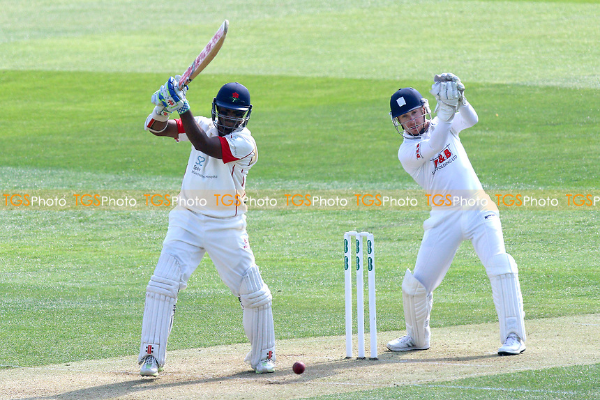 Shivnarine Chanderpaul in batting action for Lancashire as Adam Wheater looks on from behind the stumps during Essex CCC vs Lancashire CCC, Specsavers County Championship Division 1 Cricket at The Cloudfm County Ground on 7th April 2017
