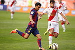 Rayo Vallecano´s Insua (R) and Barcelona´s Pedro during La Liga match between Rayo Vallecano and Barcelona at Vallecas stadium in Madrid, Spain. October 04, 2014. (ALTERPHOTOS/Victor Blanco)