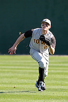 Outfielder Andrew Host #21 of the Iowa Hawkeyes during the Big East-Big Ten Challenge vs. the West Virginia Mountaineers at Jack Russell Stadium in Clearwater, Florida;  February 18, 2011.  West Virginia defeated Iowa 5-0 in both teams opening games of the season.  Photo By Mike Janes/Four Seam Images