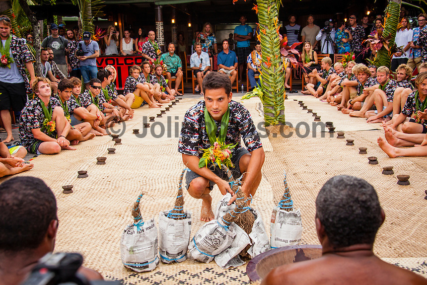 Namotu Island Resort, Fiji. (Saturday, June 2, 2012) Michel Bourez (PYF).-   The opening ceremony of the Volcom Fiji Pro was held today on Tavarua Island. The opening featured the traditional kave drinking and dancing from the local Fijian tribe..The Top 34 surfers arrived on Namotu and Tavarua Islands today in preparation fro the event which could start as early as tomorrow. Todays surf was in the 6' range and most of the surfers took advantage of the conditions to get some waves at Cloudbreak Photo: joliphotos.com