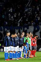 BOGOTA - COLOMBIA - 05 - 02 - 2017: Los jugadores de Millonarios y Deportivo Independiente Medellin, durante partido de la fecha 1 entre Millonarios y Deportivo Independiente Medellin, de la Liga Aguila I-2017, jugado en el estadio Nemesio Camacho El Campin de la ciudad de Bogota.  / The players of Millonarios and Deportivo Independiente Medellin, during a match between Millonarios and Deportivo Independiente Medellin, for the date 1 of the Liga Aguila I-201/ at the Nemesio Camacho El Campin Stadium in Bogota city, Photo: VizzorImage / Luis Ramirez / Staff.