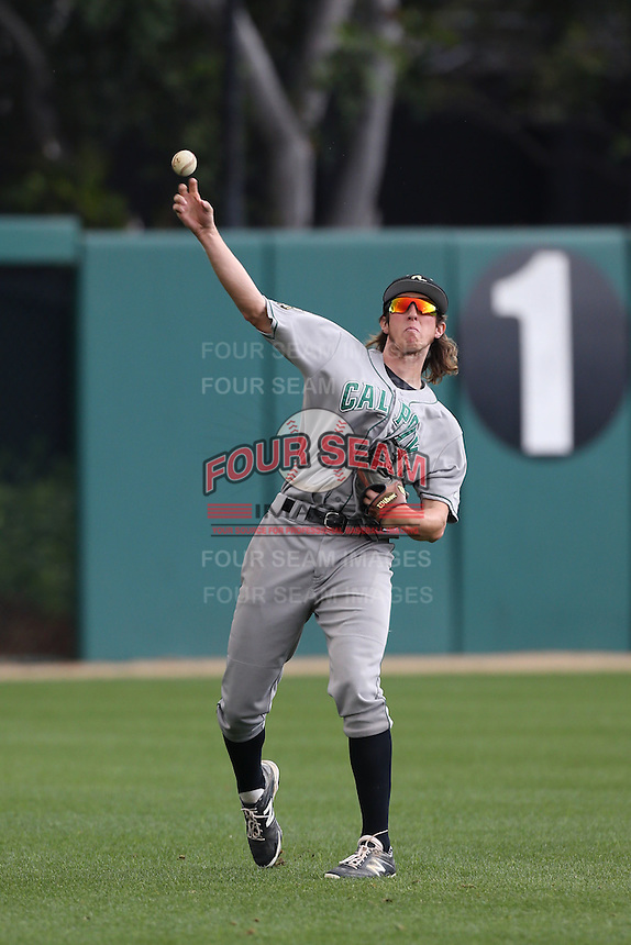 Tim Wise #24 of the Cal Poly Mustangs warms up between innings of a game against the USC Trojans at Dedeaux Field on March 2, 2014 in Los Angeles, California. Cal Poly defeated USC, 5-1. (Larry Goren/Four Seam Images)