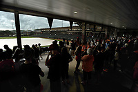 NWA Democrat-Gazette/ANDY SHUPE<br /> Shiloh Christian and Nashville fans wait out a weather delay Friday, May 19, 2017, during the Class 4A state championship game at Baum Stadium in Fayetteville. Visit nwadg.com/photos to see more photographs from the game.