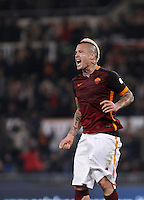Calcio, Serie A: Roma vs Inter. Roma, stadio Olimpico, 19 marzo 2016.<br /> Roma's Radja Nainggolan celebrates after scoring during the Italian Serie A football match between Roma and FC Inter at Rome's Olympic stadium, 19 March 2016. The game ended 1-1.<br /> UPDATE IMAGES PRESS/Isabella Bonotto