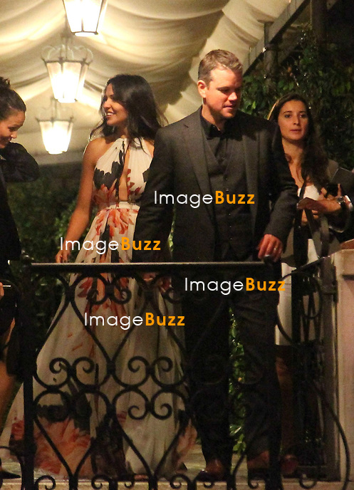 Matt Damon &amp; wife Luciana Barroso - GEORGE CLOONEY &amp; AMAL ALAMUDDIN CELEBRATE STAG NIGHT EVENT AT DA IVO RESTAURANT IN VENICE - <br /> George Clooney &amp; British fiancee Amal Alamuddin celebrate their stag night event at the Da Ivo restaurant in Venice, prior to their wedding day. <br /> Robert De Niro, Matt Damon, Brad Pitt and Cate Blanchett were among the other stars, like Cindy Crawford, Rande Geber, Bill Murray, Emily Blunt.<br /> Italy, Venice, 26 September, 2014.