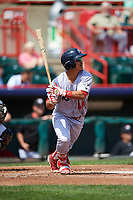 Reading Fightin Phils catcher Chace Numata (50) follows through on a swing during a game against the Erie SeaWolves on May 18, 2017 at UPMC Park in Erie, Pennsylvania.  Reading defeated Erie 8-3.  (Mike Janes/Four Seam Images)