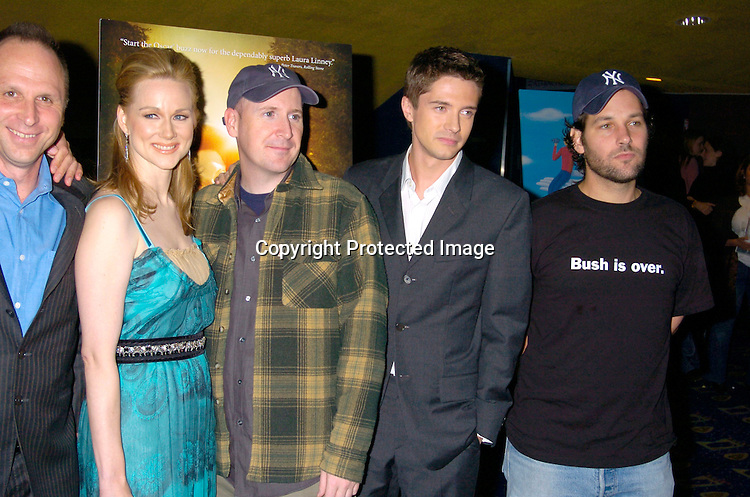"""Bob Berney, Laura LInney, Dylan Kidd, Topher Grace and Paul Rudd ..at the New York Premiere of """"ps"""" on October 12, 2004 ..at the Clearview Chelsea West. ..Photo by Robin Platzer, Twin Images"""