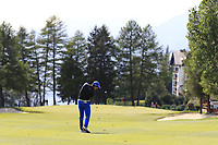Ricardo Gouveia (POR) plays his 2nd shot on the 1st hole during Thursday's Round 1 of the 2017 Omega European Masters held at Golf Club Crans-Sur-Sierre, Crans Montana, Switzerland. 7th September 2017.<br /> Picture: Eoin Clarke | Golffile<br /> <br /> <br /> All photos usage must carry mandatory copyright credit (&copy; Golffile | Eoin Clarke)