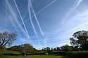 20/05/16<br /> <br /> With the airline industry shaken after yesterday's loss of an aircraft over the Mediterranean, it looked busier than ever over Derbyshire today as scores of vapour trails or contrails (condensation trails) criss-cross the sky above Ireton Wood, near Belper.<br /> <br /> All Rights Reserved F Stop Press Ltd +44 (0)1335 418365