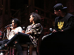 "Raven Thomas, Sasha Hollinger, Roddy Kennedy on stage during The Rockefeller Foundation and The Gilder Lehrman Institute of American History sponsored High School student #eduHam matinee performance of ""Hamilton"" Q & A at the Richard Rodgers Theatre on November 7, 2018 in New York City."