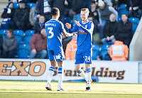 Ben Stevenson of Colchester United celebrates the opening goal for the hosts during Colchester United vs Plymouth Argyle, Sky Bet EFL League 2 Football at the JobServe Community Stadium on 8th February 2020