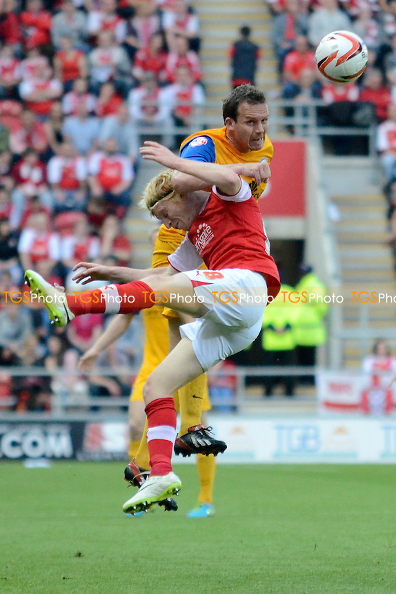 Kevin Davies of Preston North End goes up for an aerial challenge with Ben Pringle of Rotherham United - Rotherham United vs Leyton Orient - Sky Bet League One Promotion Play-Off Semi-Final 2nd Leg at the New York Stadium, Rotherham - 15/05/14 - MANDATORY CREDIT: Greig Bertram/TGSPHOTO - Self billing applies where appropriate - 0845 094 6026 - contact@tgsphoto.co.uk - NO UNPAID USE