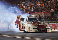 Sep 2, 2016; Clermont, IN, USA; NHRA funny car driver Tommy Johnson Jr during qualifying for the US Nationals at Lucas Oil Raceway. Mandatory Credit: Mark J. Rebilas-USA TODAY Sports