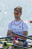 Brandenburg. GERMANY. GBR M4X. Graeme THOMAS.<br /> 2016 European Rowing Championships at the Regattastrecke Beetzsee<br /> <br /> Friday  06/05/2016<br /> <br /> [Mandatory Credit; Peter SPURRIER/Intersport-images]