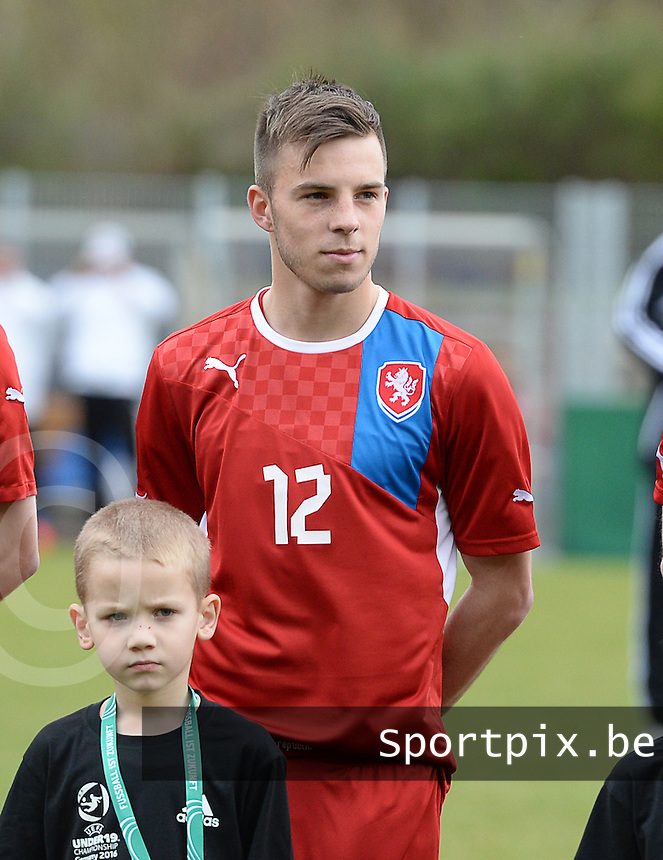 20150331 - WALLDORF , GERMANY  : Czech Erik Puchel pictured during the soccer match between Under 19 teams of Czech Republic and Germany , on the third and last matchday in group 2 of the UEFA Elite Round Under 19 at FC Astoria Stadion , Walldorf , Germany . Tuesday 31st March 2015 . PHOTO DAVID CATRY