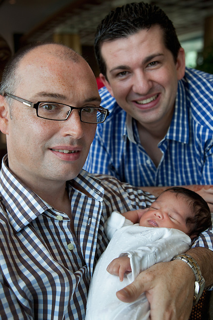 24 April , 2010, MUMBAI , INDIA :  Gay couple from Sydney's Blue Mountains, Darren (left) and John Allen-Drury with their son Noah who was born in India using a surrogate mother. A controversial subject in Australia the couple found the programme in India a viable alternative to the expensive and lengthy procedures required in the USA to have a child of their own. Pictures by  Graham Crouch