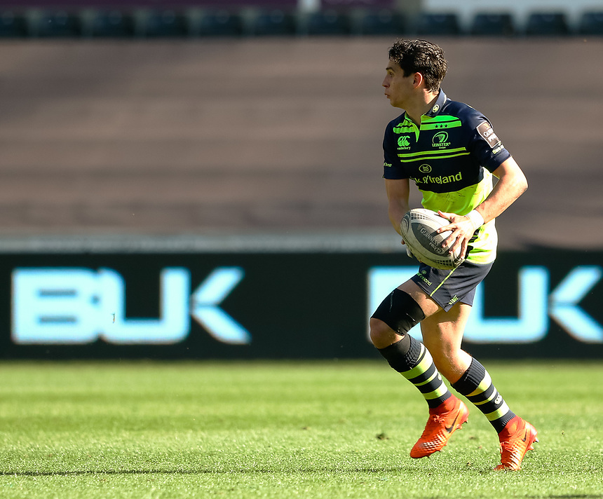 Leinster's Joey Carbery<br /> <br /> Photographer Simon King/CameraSport<br /> <br /> Guinness PRO12 Round 19 - Ospreys v Leinster Rugby - Saturday 8th April 2017 - Liberty Stadium - Swansea<br /> <br /> World Copyright &copy; 2017 CameraSport. All rights reserved. 43 Linden Ave. Countesthorpe. Leicester. England. LE8 5PG - Tel: +44 (0) 116 277 4147 - admin@camerasport.com - www.camerasport.com