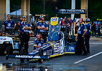 May 4, 2018; Commerce, GA, USA; Crew members for NHRA top fuel driver Antron Brown during qualifying for the Southern Nationals at Atlanta Dragway. Mandatory Credit: Mark J. Rebilas-USA TODAY Sports