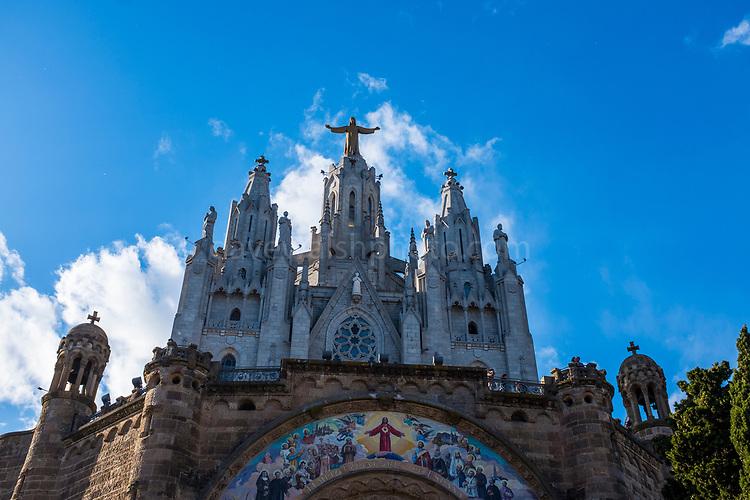 Temple Expiatori del Sagrat Cor -  Expiatory Church of the Sacred Heart of Jesus, Tibidabo, Barcelona. Designed by architect Enric Sagnier.