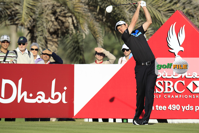 Justin Rose (ENG) tees off the 14th tee during Friday's Round 2 of the Abu Dhabi HSBC Golf Championship at Abu Dhabi Golf Club, 18th January 2013 (Photo Eoin Clarke/www.golffile.ie)