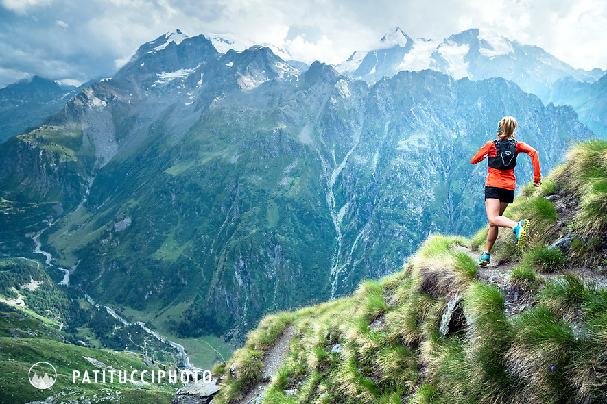 Trail running near Lac Louvie in the Valais region of Switzerland.