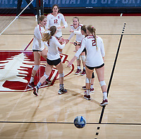 STANFORD, CA - December 1, 2018: Meghan McClure, Holly Campbell, Audriana Fitzmorris, Jenna Gray, Morgan Hentz, Kathryn Plummer at Maples Pavilion. The Stanford Cardinal defeated Loyola Marymount 25-20, 25-15, 25-17 in the second round of the NCAA tournament.