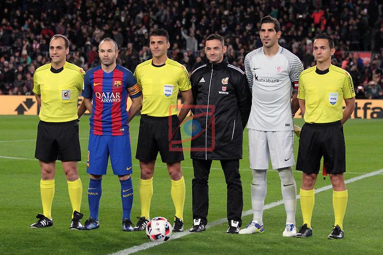 Copa del Rey 2016/2017 - 1/8 final vuelta.<br /> FC Barcelona vs Athletic Club: 3-1.<br /> Nevado Rodriguez, Andres Iniesta, Gil Manzano, Sanchez Laso &amp; Fernandez Miranda.