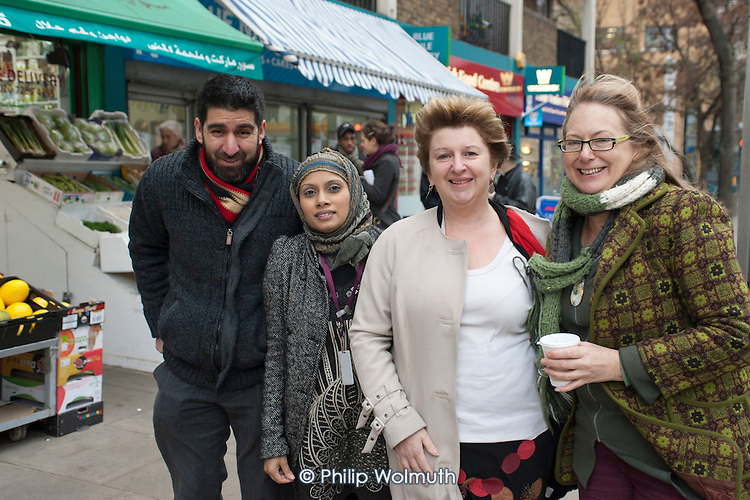 Little Venice Fish Bar owner Yaquub Aiobi, Sheba Begum, Helen Kay, Westbourne Neighbourhood Forum, and Karen Buck MP. Westbourne Parade after shopfront, pavement and street furniture improvement scheme.