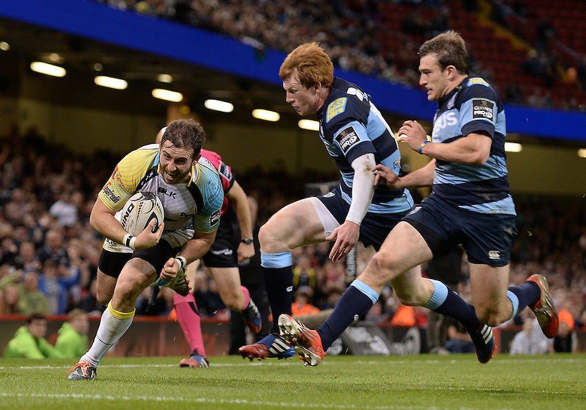 Ospreys' Tom Grabham scores his sides third try<br /> <br /> Photographer Ian Cook/CameraSport<br /> <br /> Rugby Union - Guinness PRO12 - Saturday 25th April 2015 - Cardiff Blues v Ospreys - Millennium Stadium - Cardiff<br /> <br /> &copy; CameraSport - 43 Linden Ave. Countesthorpe. Leicester. England. LE8 5PG - Tel: +44 (0) 116 277 4147 - admin@camerasport.com - www.camerasport.com