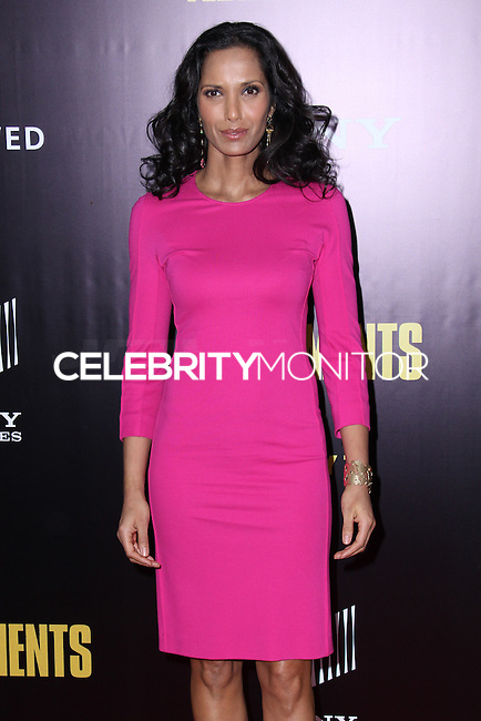 "NEW YORK, NY - FEBRUARY 04: Padma Lakshmi at the New York Premiere Of Columbia Pictures' ""The Monuments Men"" held at Ziegfeld Theater on February 4, 2014 in New York City, New York. (Photo by Jeffery Duran/Celebrity Monitor)"