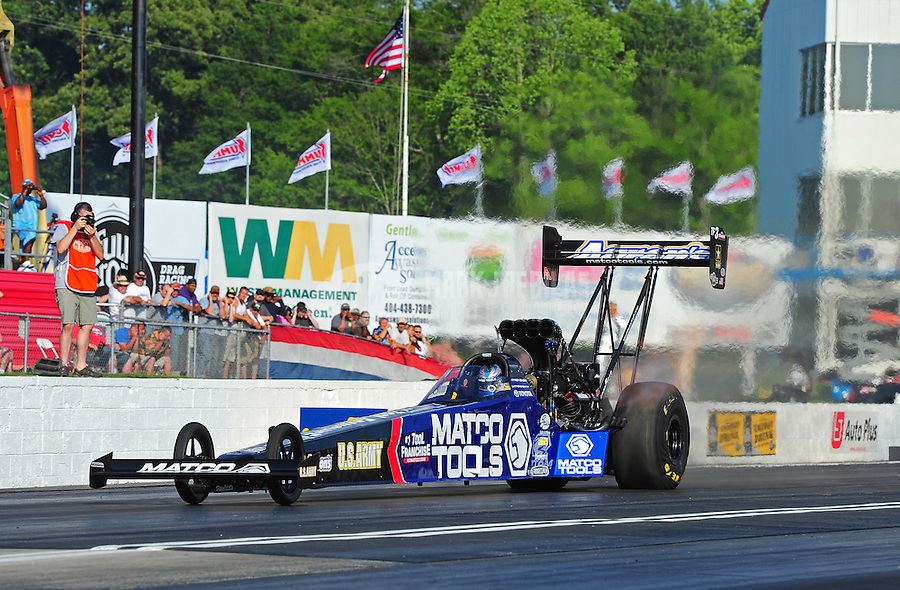 May 4, 2012; Commerce, GA, USA: NHRA top fuel dragster driver Antron Brown during qualifying for the Southern Nationals at Atlanta Dragway. Mandatory Credit: Mark J. Rebilas-