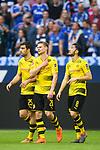 15.04.2018, VELTINS Arena, Gelsenkirchen, Deutschland, GER, 1. FBL, FC Schalke 04 vs. Borussia Dortmund, im Bild Sokratis Papastathopoulos (#25 Dortmund), Lukasz Piszczek (#26 Dortmund), Nuri Sahin (#8 Dortmund) entt&auml;uscht / enttaeuscht / traurig nach Niederlage<br /> <br /> Foto &copy; nordphoto / Kurth