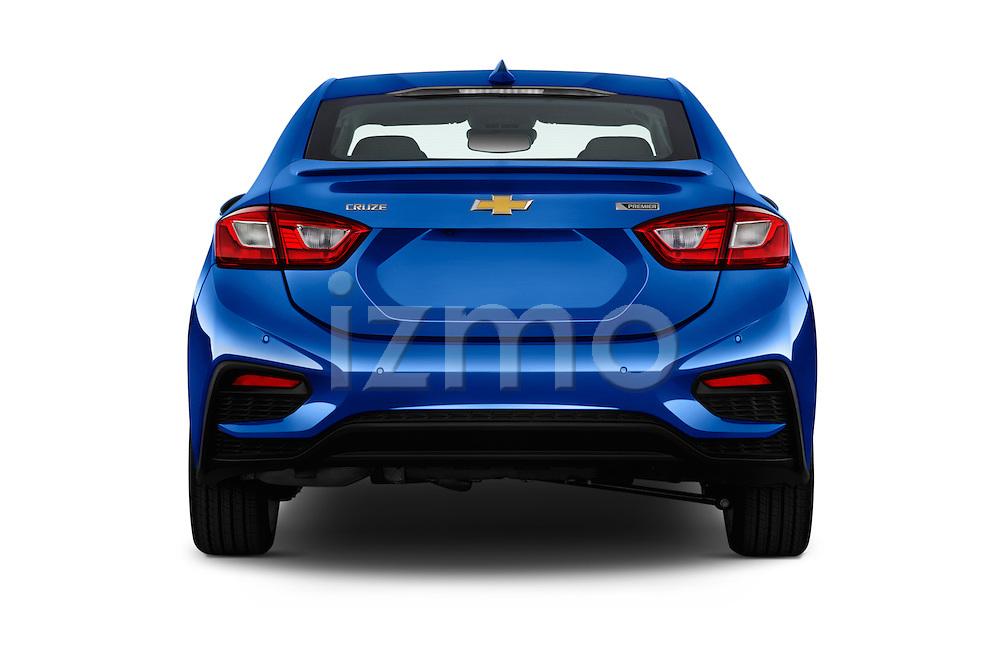 Straight rear view of 2018 Chevrolet Cruze Premier 4 Door Sedan Rear View  stock images