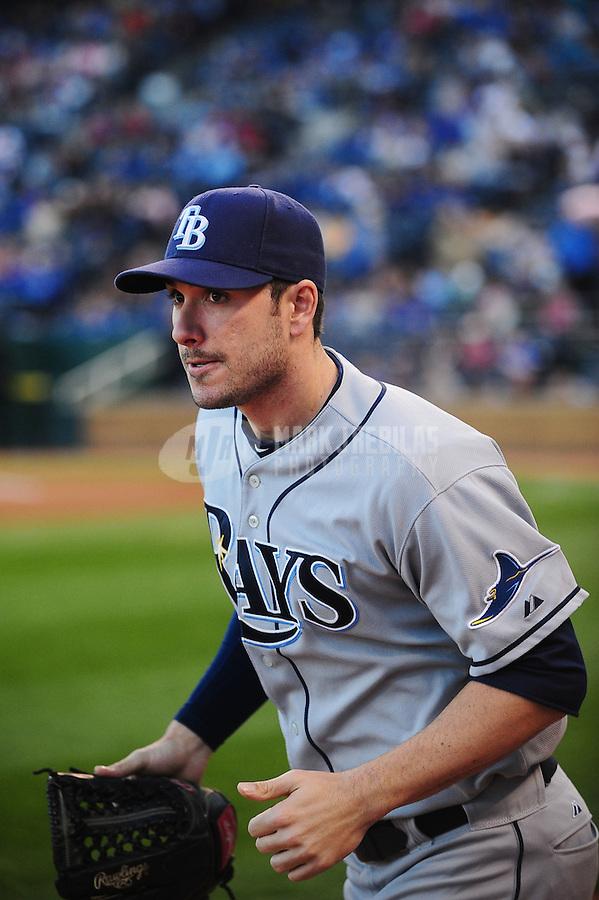 Oct. 2, 2010; Kansas City, MO, USA; Tampa Bay Rays right fielder Matt Joyce against the Kansas City Royals at Kauffman Stadium. Mandatory Credit: Mark J. Rebilas-