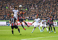 Kopfball Nuno da Costa (Racing Club de Strasbourg Alsace) gegen Makoto Hasebe (Eintracht Frankfurt) - 29.08.2019: Eintracht Frankfurt vs. Racing Straßburg, UEFA Europa League, Qualifikation, Commerzbank Arena<br /> DISCLAIMER: DFL regulations prohibit any use of photographs as image sequences and/or quasi-video.
