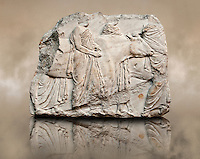 Marble Releif Sculptures from the south frieze around the Parthenon Block XLI 122-124. From the Parthenon of the Acropolis Athens. A British Museum Exhibit known as The Elgin Marbles. End of the South freize as cattle are led to be sacrificed