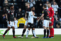 Bolton Wanderers' players shake hands with Derby County's Ashley Cole at the end of the match<br /> <br /> Photographer Andrew Kearns/CameraSport<br /> <br /> The EFL Sky Bet Championship - Derby County v Bolton Wanderers - Saturday 13th April 2019 - Pride Park - Derby<br /> <br /> World Copyright &copy; 2019 CameraSport. All rights reserved. 43 Linden Ave. Countesthorpe. Leicester. England. LE8 5PG - Tel: +44 (0) 116 277 4147 - admin@camerasport.com - www.camerasport.com