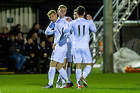Monday 16 January 2017<br /> Pictured: Oli McBurnie Swansea City Celebrates his goal with team mates<br /> Re: During the Swansea City U23's match against Newcastle United U23's at the Landore Training facility, Swansea Wales UK