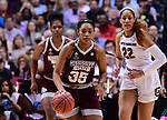 DALLAS, TX - APRIL 2:  Victoria Vivians #35 of the Mississippi State Lady Bulldogs dribbles during the 2017 Women's Final Four at American Airlines Center on April 2, 2017 in Dallas, Texas.  (Photo by Ben Solomon/NCAA Photos via Getty Images)
