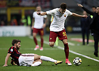 Calcio, Serie A: Milano, stadio Giuseppe Meazza (San Siro), 1 ottobre 2017.<br /> Roma's Stephan El Shaarawy (r) in action with Milan's Fabio Borini (l) during the Italian Serie A football match between Milan and AS Roma at Milan's Giuseppe Meazza (San Siro) stadium, October 1, 2017.<br /> UPDATE IMAGES PRESS/IsabellaBonotto