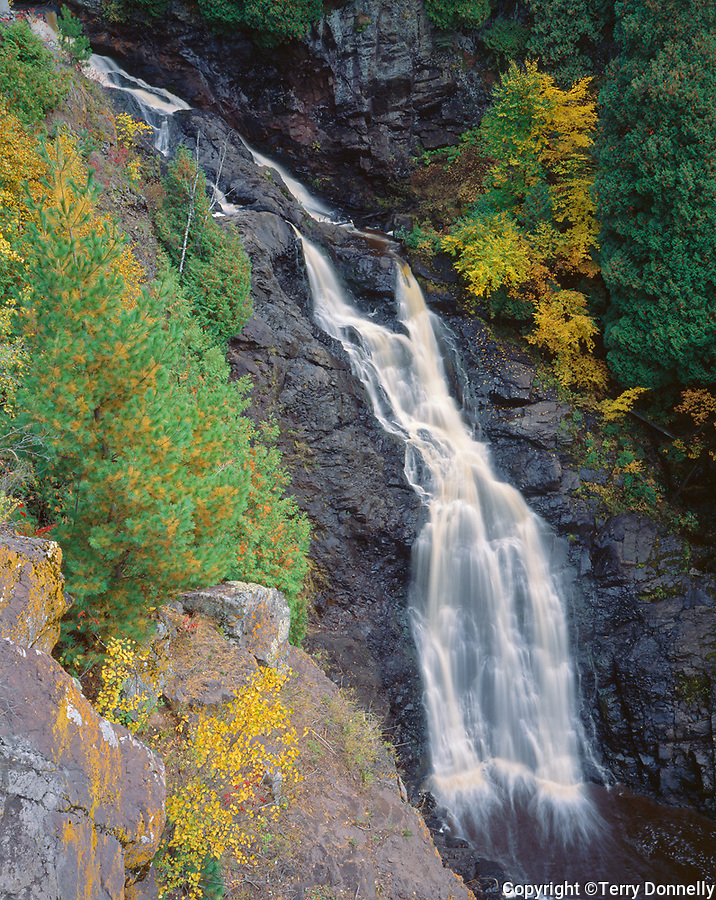 Pattison State Park, WI: Big Manitou Falls (165 ft) in early fall