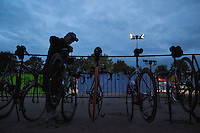 07 AUG 2010 - LICHFIELD, GBR - Tony Fisher makes final adjustments to his bike in transition before competing in the Triple Iron race at the Enduroman Ultra Triathlon Championships .(PHOTO (C) NIGEL FARROW)