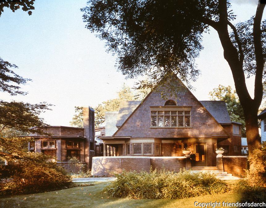 Frank Lloyd Wright:  Frank Lloyd Wright Home & Studio, Oak Park, IL 1889. West elevation. ( Ref. H.K. Barnett) NRHP 1970. Shingle construction.