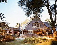 Frank Lloyd Wright:  Frank Lloyd Wright Home & Studio, Oak Park, IL 1889. West elevation. ( Ref. H.K. Barnett) NRHP 1970. Shingle construction.