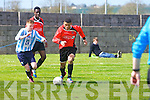 Park's Stefan Okunbor in Action at the National Cup Quarter Final St. Brendan's Park FC Vs Salthill Devon FC at Christy Leahy Park on Sunday
