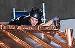 Lille - France- 04 October 2014 --  Euroskills 2014 competition. -- Team Finland - Matias Mustikkamaa, laji 49: kattopeltiseppä / Metal Roofing. -- PHOTO: SkillsFinland / Juha ROININEN - EUP-IMAGES