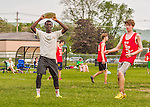 30 May 2015: Montpelier High School scores the winning point against Champlain Valley Union High School in the final round of the VYUL State Ultimate Disk Championships at Milton Senior High School in Milton, Vermont. Montpelier defeated CVU 15-8 to take the 2015 State Championship. Mandatory Credit: Ed Wolfstein Photo *** RAW (NEF) Image File Available ***