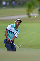 Kartik SHARMA (IND) chips on to 16 during Rd 3 of the Asia-Pacific Amateur Championship, Sentosa Golf Club, Singapore. 10/6/2018.<br /> Picture: Golffile | Ken Murray<br /> <br /> <br /> All photo usage must carry mandatory copyright credit (© Golffile | Ken Murray)